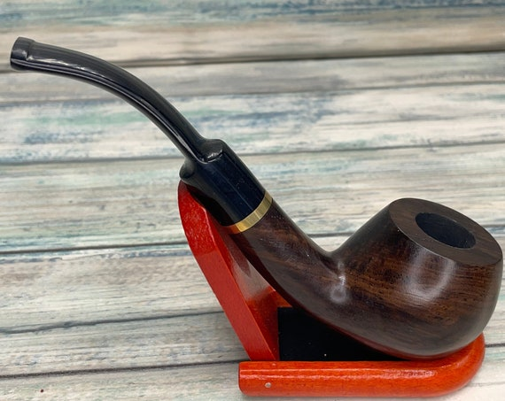 USA Made Rare EBONYWOOD Black Ebony Wood PIPE Set Tobacco Smoking Pipe Men's & Women's Carved Wood Handcrafted Dixie Cowboy P4
