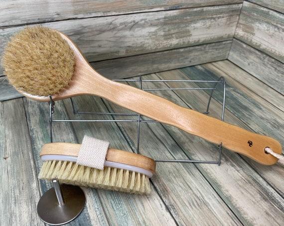 USA Made BOAR Hair Body Shower SCRUB Brush Set Wood Handle Exfoliating Cellulite Back Bath Dry Skin Brushing Bristle Dixie Cowboy