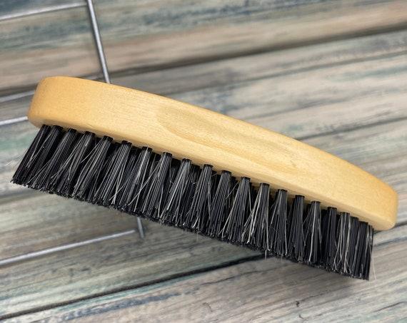"USA Made Reclaimed Wood BOAR Hair Wood Beard Bristle Firm Stiff Brush BEARDS & Short Hair 5"" Palm Military Dixie Cowboy"