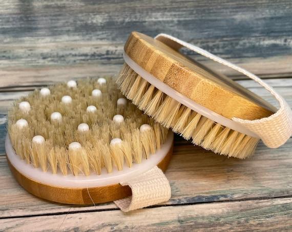 "USA Made BOAR Hair BAMBOO Wood Body 4.5"" Round Scrub scrubber Brush Massager Bath Dry Skin Shower Brushing Bristle Dixie Cowboy"