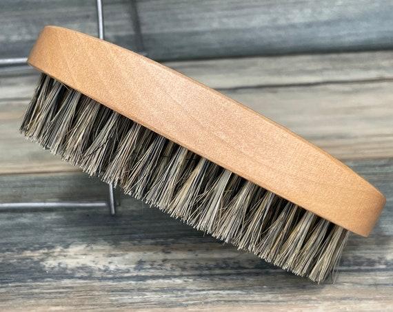 "USA Made Reclaimed Wood BOAR Hair Wood Beard Bristle Brush BEARDS & Short Hair 4.5"" Firm Palm Military Dixie Cowboy"