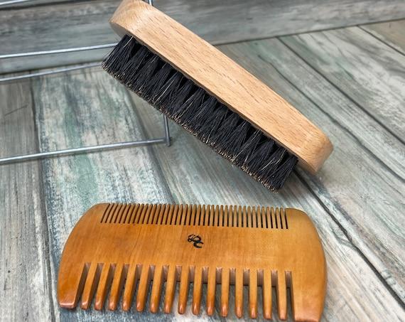 Men's Gift Set For BEARD and Short Hair Mustache USA Made BOAR Hair Brush Beechwood & 2 Sided Wood Comb Bristle Dixie Cowboy K21