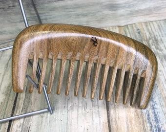 "USA Made Natural SANDALWOOD WOOD 4"" Medium fine Tooth Detangler Detangling Pick Hand Coarse Tooth Pocket Purse Hair Beard Dixie Cowboy F18"