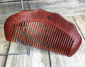 "USA MADE Texas ROSEWOOD Redwood Wood Hair Comb Handmade 5"" Perfect Beard Purse or Pocket Hand Medium Wide Tooth Wet Dry Dixie Cowboy v25"