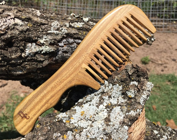 "Handmade Green SANDALWOOD 7"" 7.5"" Handle Detangler Detangling Thick Deep Wide Tooth Toothed Wet WOOD Hair COMB Dixie Cowboy e24"