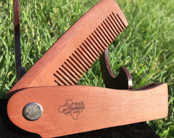 "Handmade 7"" Texas MESQUITE FOLDING COMB Perfect Gift Wood Hair Comb Folding Pocket Purse Styling Beard Mustache Men's Women's V41"