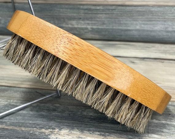 "USA Made Bamboo Wood BOAR Hair Wood Beard Bristle Brush BEARDS & Short Hair 5"" Medium Firm Palm Military Dixie Cowboy C7"