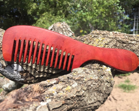 "Handmade Rustic TEXAS Redwood Rosewood 7.5"" Handle Detangler Detangling Thick Deep Wide Tooth Toothed Wet WOOD Hair COMB Dixie Cowboy v46"