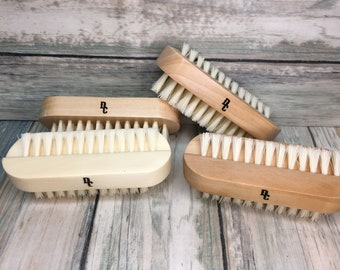 "USA Made BOAR & Fiber Utility 2 Sided Brush WOOD Bristle 4"" Hair Palm Military Hand Nail Feet foot Vegetable Fingernail Dixie Cowboy BB6"