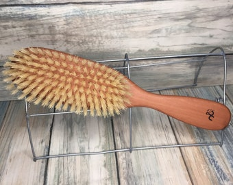 "USA Made GOAT Boar Reinforced Mix Firm Stiff Brush Goat's Blend Hair Bristle 9"" Wood Handle Body Face Skin Dry Barber Beard Tx31"