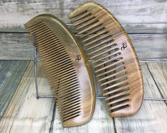 """USA MADE 2 Piece Set Whole Piece Green SANDALWOOD 6"""" Hand Wide & Fine Tooth Detangling Smoothing Wood Wet Dry Hair Comb Dixie Cowboy V13"""