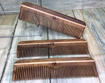 "USA Made 5"" ROSEWOOD Barber Comb 2 Sided Styling Rose Wood Pocket Dress Anti Static Wet dry Hair Comb Dixie Cowboy V32"