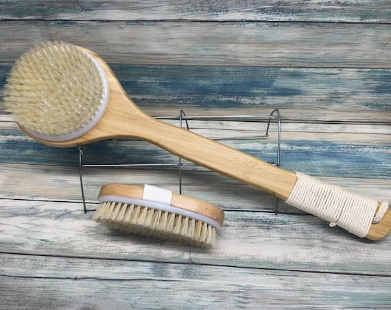 USA Made VEGAN Friendly Plant Based Body Shower SCRUB Brush Set Wood Handle Exfoliating Back Bath Dry Skin Brushing Dixie Cowboy u17