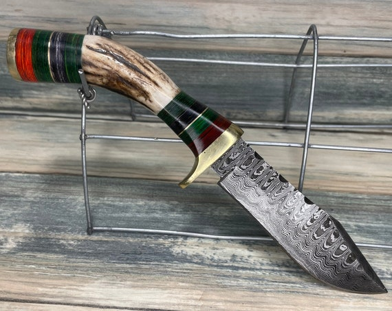 "USA Made Deer ANTLER Bone Handle stag Bowie Knife 8"" Damascus Leather Sheath Hunting Skinner Steel Fixed Blade Dixie Cowboy Kt6"