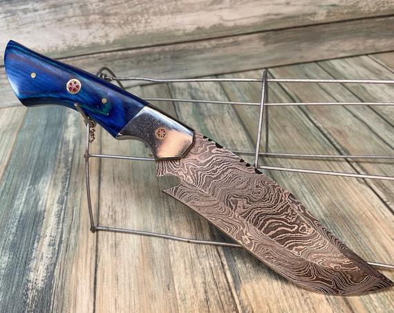 "USA Made Handmade Blue PAKKAWOOD Wood Handle 10"" Tracker BOWIE Knife Damascus Leather Sheath Hunting Camping Steel Fixed Blade Dixie Cowboy"