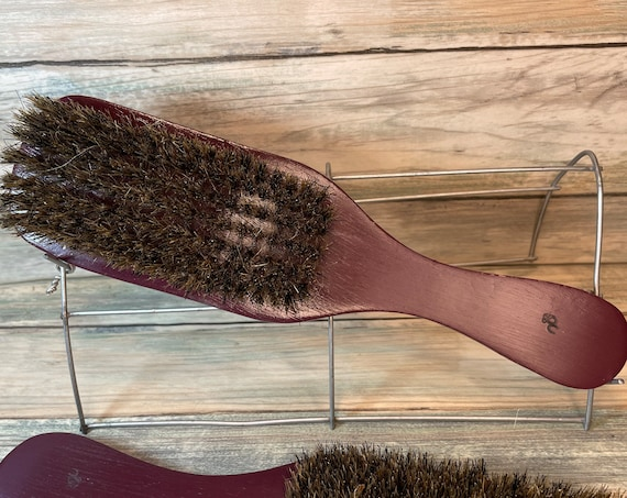 "USA MADE Red Reclaimed Wood & Natural BOAR Hair 9"" Bristle Soft Medium Styling Smoothing Finishing Brush Handle Dixie Cowboy"