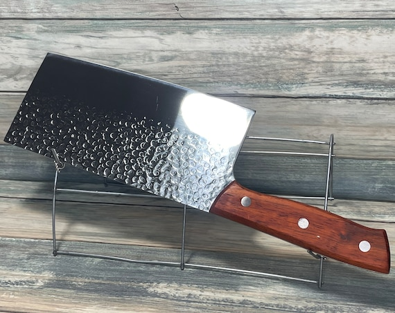 """USA Made Handmade Walnut Handle 12"""" Cleaver Meat Chopping Chef stainless Steel KNIFE Kitchen Camping Vegetable Dixie Cowboy"""