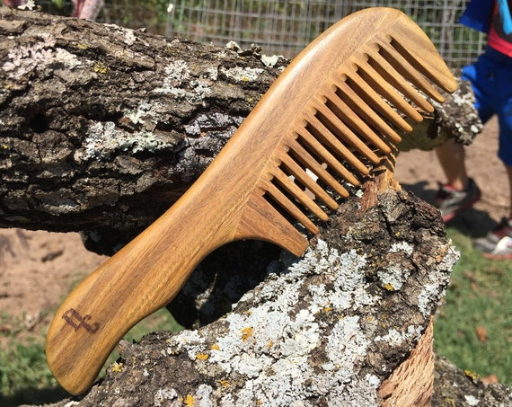 "Handmade Green SANDALWOOD 7"" 7.5"" Handle Detangler Detangling Thick Deep Wide Tooth Toothed Wet WOOD Hair COMB Dixie Cowboy Y12"