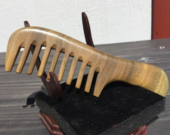 """Handmade 7"""" Whole Piece Green SANDALWOOD 7"""" Handle Detangler Wide Detangler Thick Deep Tooth Toothed WOOD Hair COMB Dixie Cowboy F49"""