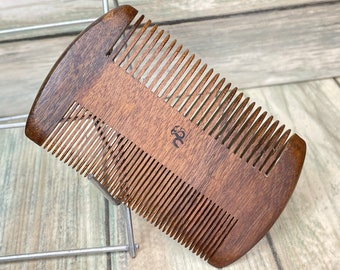 "USA Made BLACK WALNUT Wood 4"" & 2"" Sandalwood Comb Texas Beard Mustache Two Sided Wide Fine Pocket Hair Comb Dixie Cowboy B30"