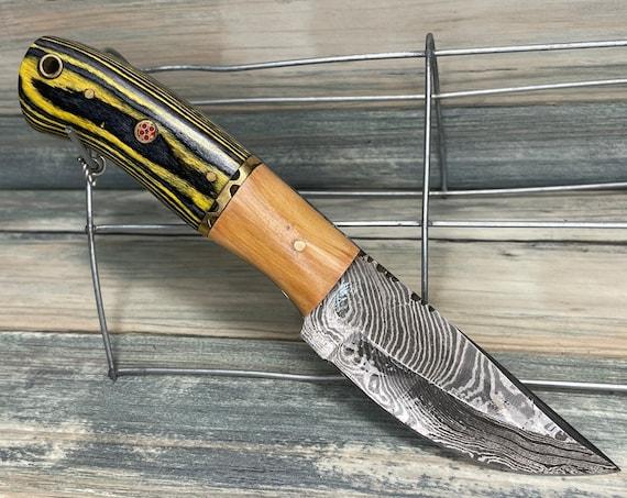 "USA Made PAKKAWOOD & Texas PINE Wood Handle 8"" Knife with Sheath Full Tang Skinner Damascus Steel Fixed Blade Dixie Cowboy Tx45"