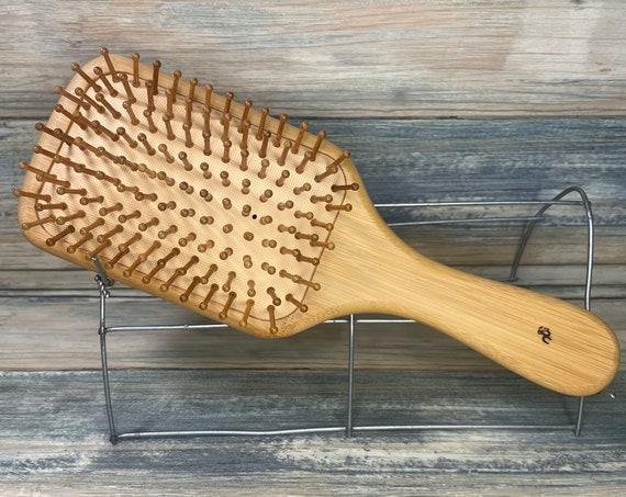 "USA Made Natural BAMBOO All WOOD Bristle Teeth Detangler Detangling Wet 10"" Pin Cushion Hair Paddle Brush Hair Handle Dixie Cowboy"