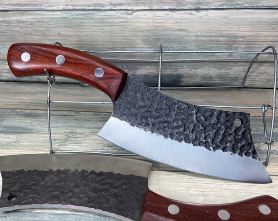 """USA Made Handmade Walnut Handle 10"""" Cleaver Meat Chopping Chef KNIFE with sheath Kitchen High Carbon Steel Vegetable Dixie Cowboy"""