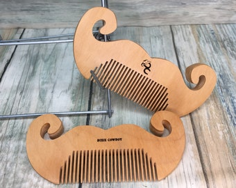 "USA Made HANDLEBAR MUSTACHE Shaped Reclaimed Wood 4"" Wax moustache Pocket Finish Styling Dressing Wood Hair Comb Dixie Cowboy V14"