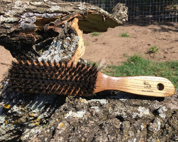 "NATURAL BOAR & Ash Wood 8"" USA Made Hair Brush Distressed Shabby Chic Bristle Mid Firm Styling Smoothing Finishing Handle Dixie Cowboy tx70"