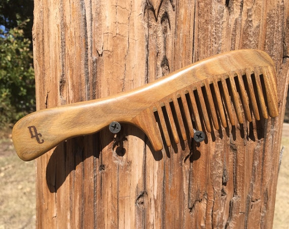 "Handmade Green SANDALWOOD 7"" 7.5"" Handle Detangler Detangling Thick Deep Wide Tooth Toothed Wet WOOD Hair COMB Dixie Cowboy D4"