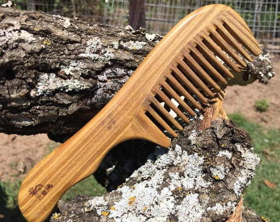 "Handmade Green SANDALWOOD 7"" 7.5"" Handle Detangler Detangling Thick Deep Wide Tooth Toothed Wet WOOD Hair COMB Dixie Cowboy E28"