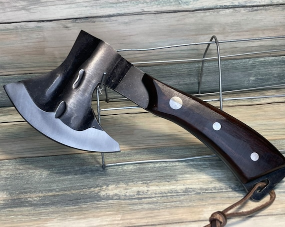 """USA Made Black Walnut Wood Handle 9"""" Ax Axe Cleaver Meat Chopping Chef High Carbon Steel Bone KNIFE Kitchen Camping Vegetable Dixie Cowboy"""