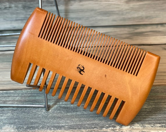 """USA Made 4"""" PEACH Wood 2 Sided Comb & Case BEARD Mustache Double Sided Fine and Wide Tooth Pocket Hair Dixie Cowboy A30"""