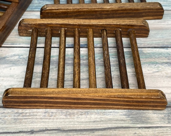 USA Made Dark Stained PINE WOOD Soap Bar Dish Holder Strainer Drainer Dish Sponge Wooden Dixie Cowboy Born Wild Soap Co.