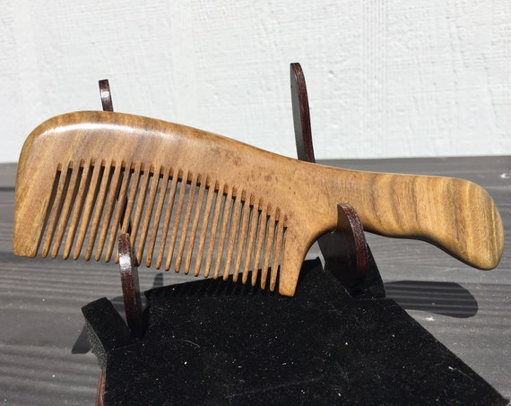 """Handmade 7"""" Whole Piece Green SANDALWOOD 7"""" Handle Detangler Wet Dry Styling Fine Medium Tooth Toothed WOOD Hair COMB Dixie Cowboy F17"""
