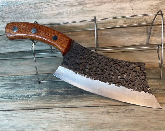"""USA Made Handmade Walnut Handle 10"""" Cleaver Meat Chopping Chef KNIFE with sheath Kitchen High Carbon Steel Vegetable Dixie Cowboy txc2"""