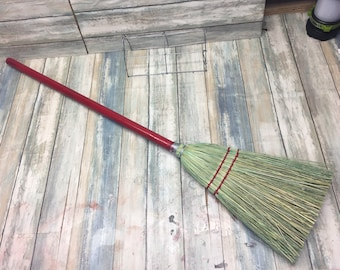 USA Made Handmade STRAW CORN Broomcorn Reed Short Hand Stick Whisk Garage Broom Brush Cleaning Kitchen Kids Eco Friendly Dixie Cowboy