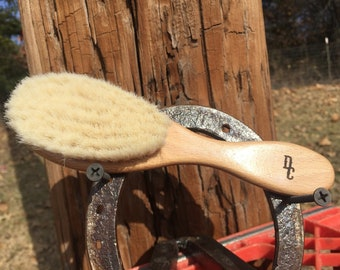 "100% Texas GOAT Brush Farm Raised Goats Hair Bristle 7"" Beechwood Wood Handle Hair Body Face Skin Dry Barber Neck Duster Beard Baby TxB11"