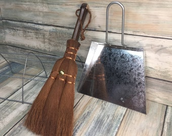 USA Made Handmade 100% PALM Fiber WHISK Broom & Dustpan Brush Cleaning Ash Pan Set Food Table Crumbs Kitchen Eco Friendly Dixie Cowboy Q38
