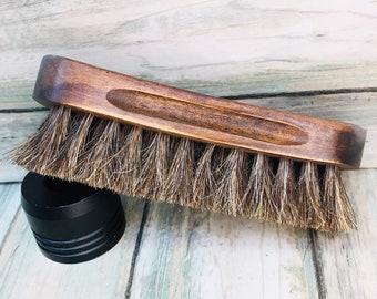 "USA Made Natural BOAR Hair Wood Beard Bristle Super Soft Brush BEARDS & Body Brush Short Hair 5"" Palm Military Dixie Cowboy K24"