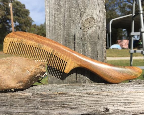 "Handmade 8"" WOOD Green SANDALWOOD Unique Handle Hand Normal Medium Fine Tooth Wet Hair Comb Dixie Cowboy v11"