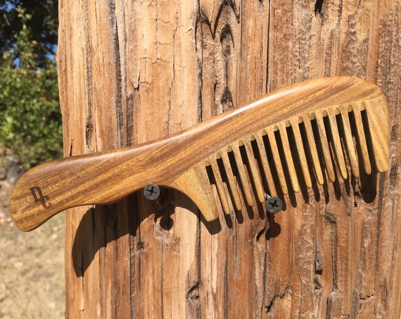 "Handmade Green SANDALWOOD 7"" 7.5"" Handle Detangler Detangling Thick Deep Wide Tooth Toothed Wet WOOD Hair COMB Dixie Cowboy D7"
