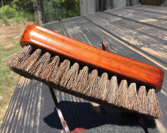 "Rustic Reclaimed Wood 100% HORSE Hair Soft Bristle Mini 6"" Wood Paddle Military Brush Perfect for Baby Beard & Fine Hair horsehair R14"