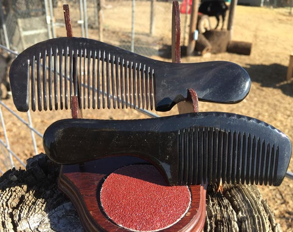 "Dixie Cowboy BUFFALO Ox HORN Black Beard Hair 5"" 6"" 6.5"" Handle Pocket Fine Medium Toothed Handle COMB Anti Static Electricity Stress z10"