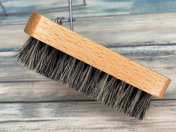 "USA Made BOAR Hair Beechwood Wood Beard Bristle Brush BEARDS Short Hair 4"" Medium Firm Palm Dixie Cowboy"