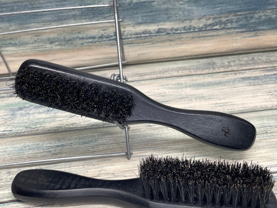 USA Made Black Reclaimed Wood BOAR Hair Wood Handle Beard Brush Bristle Thick Medium BEARDS Mustache Dixie Cowboy