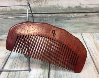 """Texas ROSEWOOD Redwood Wood HAIR COMB Handmade 5"""" Perfect Beard Purse or Pocket Hand Medium Wide Tooth Wet Dry Hair Comb Dixie Cowboy F12"""