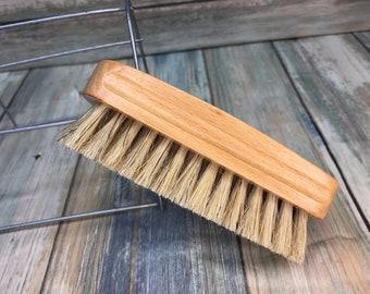 "USA Made Rare Natural Color Tan BOAR Hair Beechwood Wood Beard Bristle Brush BEARDS & Short Hair 4.5"" Medium Palm Military Dixie Cowboy W26"