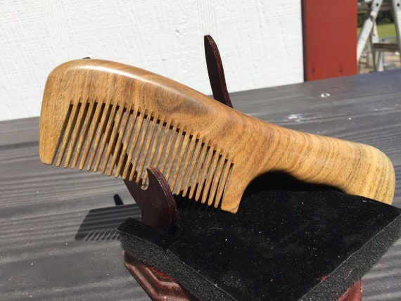"""Handmade 7"""" Whole Piece Green SANDALWOOD 7"""" Handle Detangler Wet Dry Styling Fine Medium Tooth Toothed WOOD Hair COMB Dixie Cowboy V50"""
