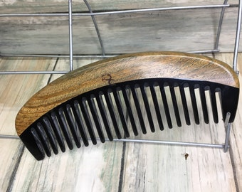 "USA Made Green Sandalwood Wood & Buffalo Ox HORN COMB Detangler Wet Wide Tooth 6"" Hand curved Hair Beard Dixie Cowboy Anti Static V40"